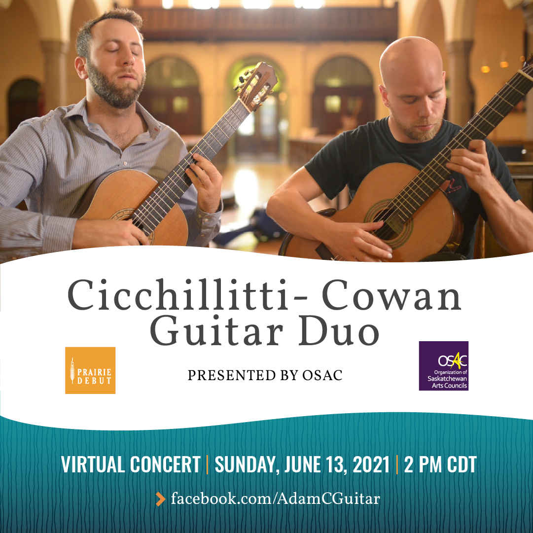 Adam Cicchillitti and Steve Cowan play classical guitar in a virtual concert for OSAC