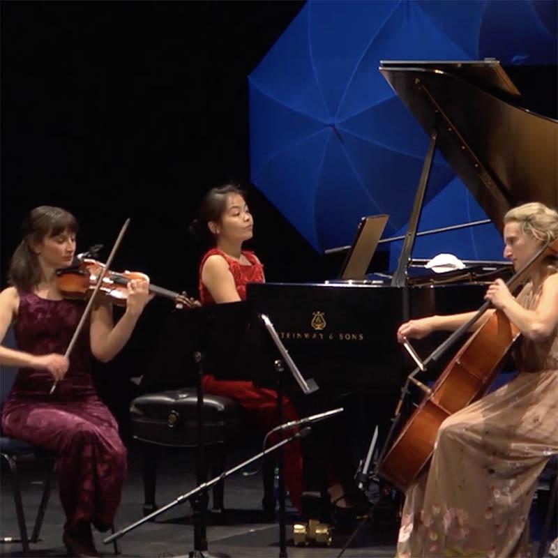 Pianist Akiko-Tominanga, cellist Kathleen de Caen and violinist Laura Reid are Prairie Debut Alumna & Friends